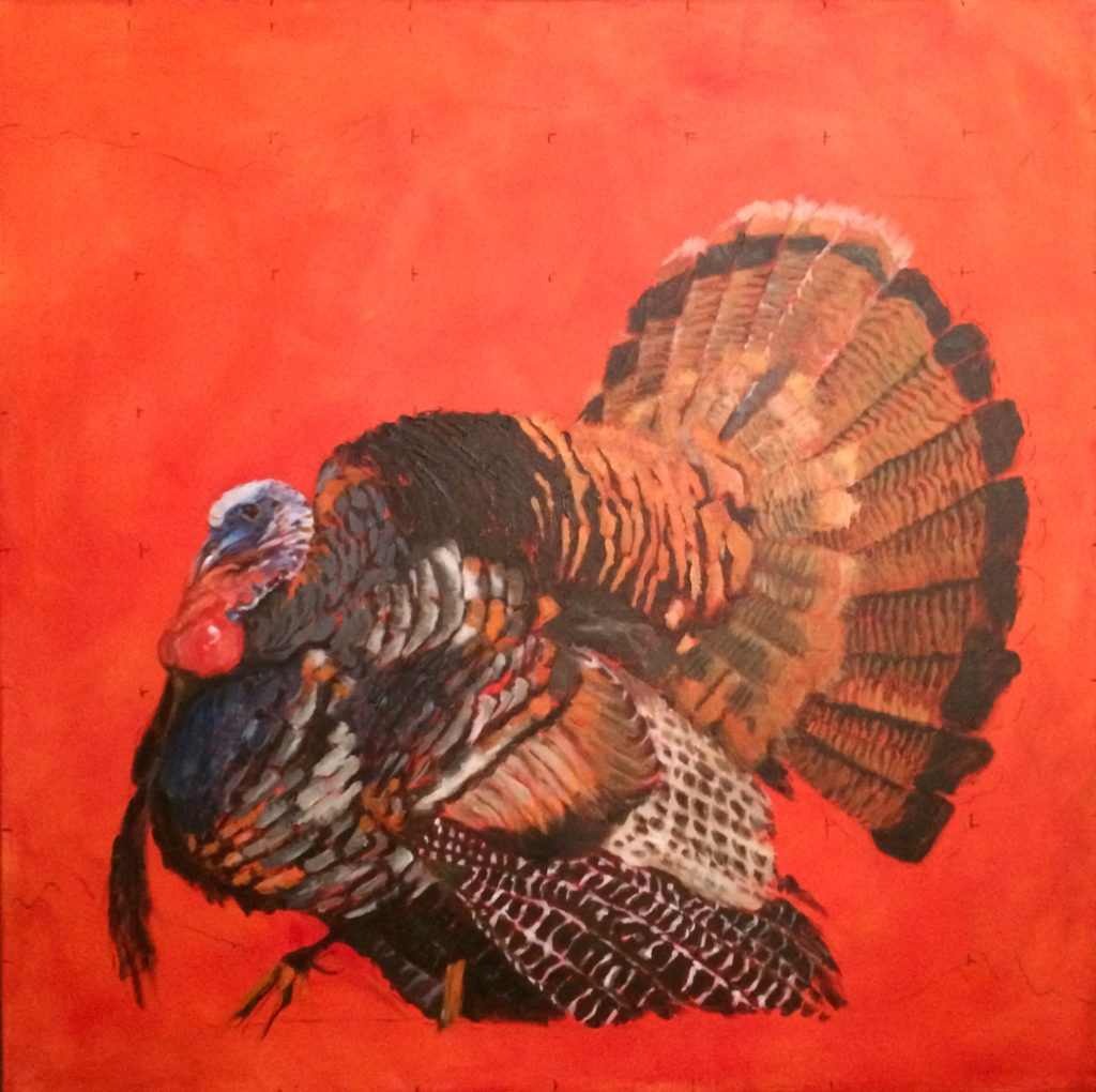Lot going on in that fan. The key to painting a turkey might be looking for the blocks of shapes within his plumage and painting those, not the individual feathers. And no repetitious strokes or widths or shapes. And my husband says ALWAYS show the beard and spurs, even if you have to make them up.